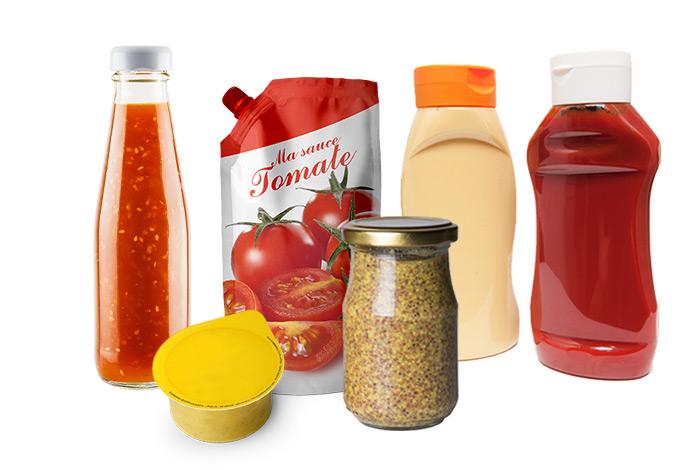 Sauces en bocaux verre, flacons plastique, barquettes, sachets